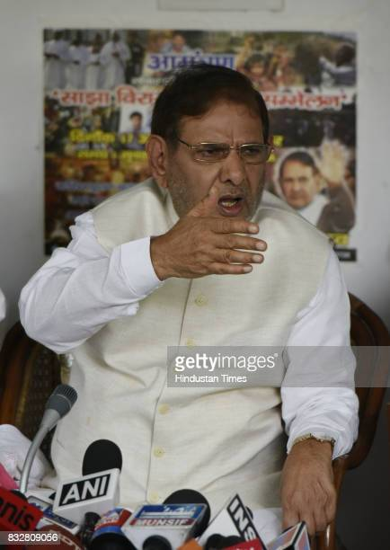 JDU leader Sharad Yadav during a press conference at his residence on August 16 2017 in New Delhi India Veteran leader Sharad Yadav will stage a show...