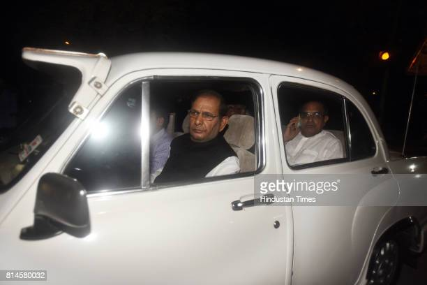 JDU leader Sharad Yadav KC Tyagi after attending the all party meeting at Union Home Minister Rajnath Singh's residence on July 14 2017 in New Delhi...