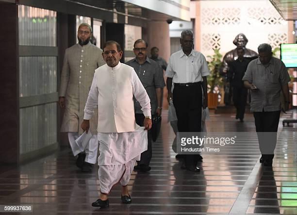 JDU leader Sharad Yadav National Secretary of CPI D Raja NCP leader Tariq Anwar All India MajliseIttehadul Muslimeen leader Asaduddin Owaisi after...