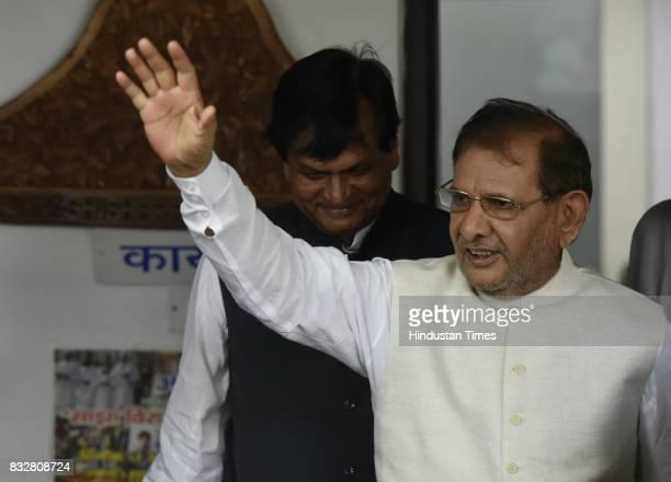 JDU leader Sharad Yadav with Ali Anwar during a press conference at his residence on August 16 2017 in New Delhi India Veteran leader Sharad Yadav...
