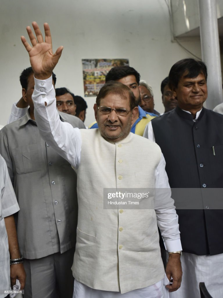 JDU leader Sharad Yadav with Ali Anwar during a press conference at his residence on August 16, 2017 in New Delhi, India. Veteran leader Sharad Yadav will stage a show of strength tomorrow, collecting leaders from a range of parties including the Congress and the Left in the run-up to the Janata Dal (United) joining the BJP-led NDA government at the Centre, and pushing for the much-awaited special package for Bihar from the Modi government.