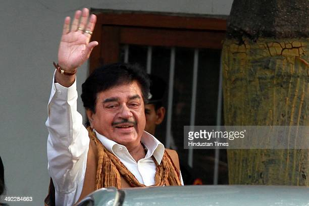 BJP leader Shatrughan Sinha after meeting with Mr Rajnath Singh came here to congratulates him for BJPled National Democratic Alliance's massive...
