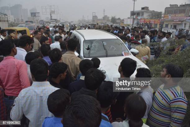 BJP leader Shiv Kumar Yadav and his guard Balli were gunned down in their car by several armed assailants near GhaziabadGreater Noida Link Road on...