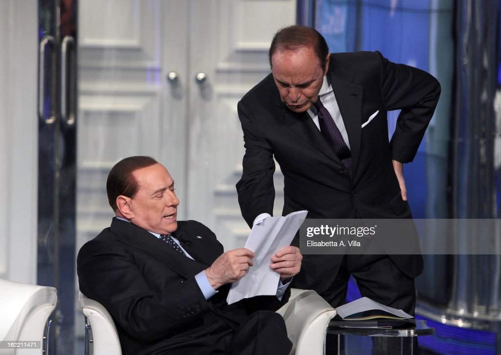 Leader <a gi-track='captionPersonalityLinkClicked' href=/galleries/search?phrase=Silvio+Berlusconi&family=editorial&specificpeople=201842 ng-click='$event.stopPropagation()'>Silvio Berlusconi</a> (L) and TV presenter <a gi-track='captionPersonalityLinkClicked' href=/galleries/search?phrase=Bruno+Vespa&family=editorial&specificpeople=621702 ng-click='$event.stopPropagation()'>Bruno Vespa</a> attend 'Porta A Porta' TV Show on February 20, 2013 in Rome, Italy. The premier candidate Berlusconi continues his campaign for the upcoming general elections that takes place on February 24th and 25th.