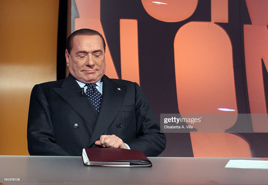 PDL leader <a gi-track='captionPersonalityLinkClicked' href=/galleries/search?phrase=Silvio+Berlusconi&family=editorial&specificpeople=201842 ng-click='$event.stopPropagation()'>Silvio Berlusconi</a> appears on the 'In Onda' Italian TV show on February 10, 2013 in Rome, Italy. According to a recent survey, <a gi-track='captionPersonalityLinkClicked' href=/galleries/search?phrase=Silvio+Berlusconi&family=editorial&specificpeople=201842 ng-click='$event.stopPropagation()'>Silvio Berlusconi</a> has reduced the difference between his center-right coalition and that of the left to 4 percent.