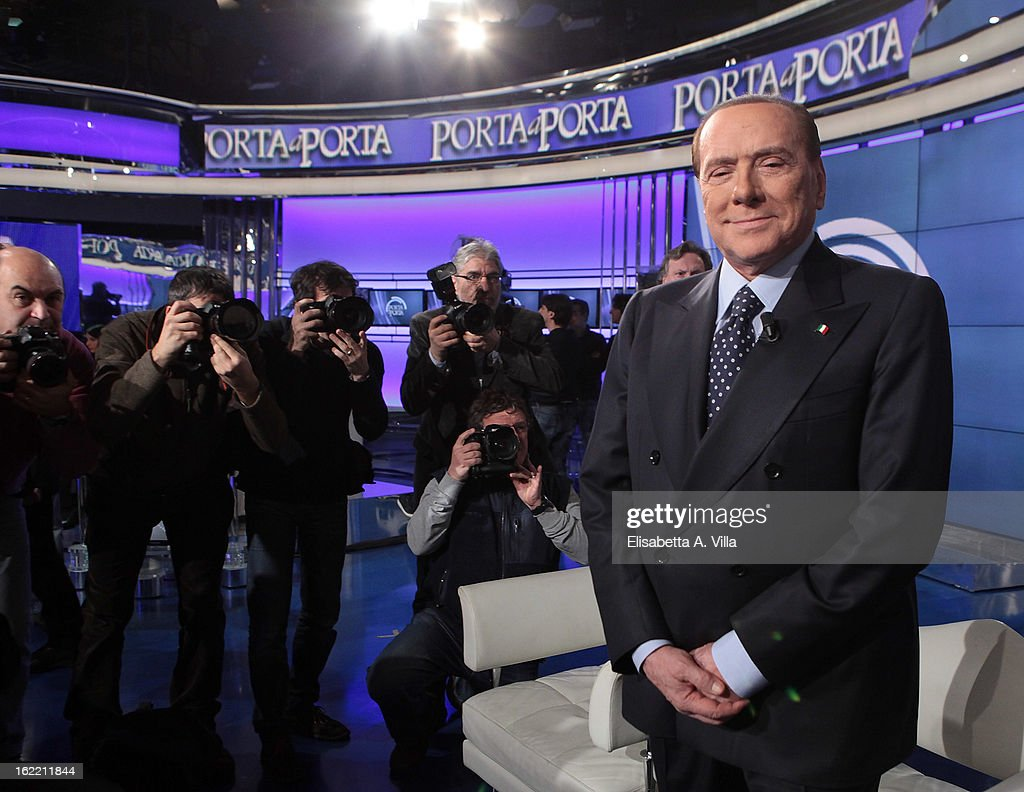 Leader <a gi-track='captionPersonalityLinkClicked' href=/galleries/search?phrase=Silvio+Berlusconi&family=editorial&specificpeople=201842 ng-click='$event.stopPropagation()'>Silvio Berlusconi</a> attends 'Porta A Porta' TV Show on February 20, 2013 in Rome, Italy. Berlusconi is continuing his campaign for the upcoming general elections that take place on February 24th and 25th.