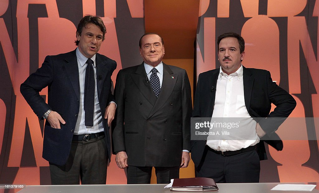 PDL leader <a gi-track='captionPersonalityLinkClicked' href=/galleries/search?phrase=Silvio+Berlusconi&family=editorial&specificpeople=201842 ng-click='$event.stopPropagation()'>Silvio Berlusconi</a> (C) poses with TV presenters Nicola Porro (L) and Luca Telese on the set of TV talk-show 'In Onda' on February 10, 2013 in Rome, Italy. According to a recent survey, <a gi-track='captionPersonalityLinkClicked' href=/galleries/search?phrase=Silvio+Berlusconi&family=editorial&specificpeople=201842 ng-click='$event.stopPropagation()'>Silvio Berlusconi</a> has reduced the difference between his center-right coalition and that of the left to 4 percent.