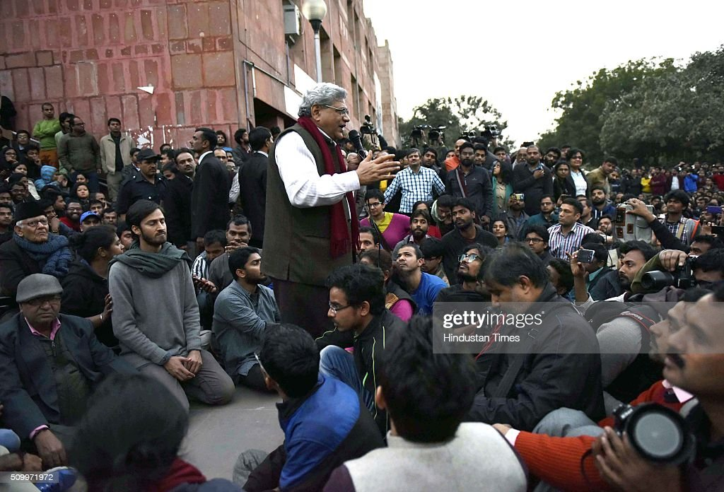 CPI(M) leader Sitaram Yechury addresses the students protesting over the release of JNU Student's Union president Kanhaiya Kumar at Jawaharlal Nehru University, on February 13, 2016 in New Delhi, India. Congress Vice President Rahul Gandhi slammed the Centre and said it is terrified of people who are raising their voices. He said, the most anti-national people are the people who are suppressing the voice of this institution. JNU Student's Union president Kanhaiya Kumar was arrested in connection with a case of sedition, seven more students from the university have been detained after a controversial event to protest the hanging of 2001 Parliament attack convict Afzal Guru three years ago. The protesters also allegedly shouted anti-India slogans during the event.