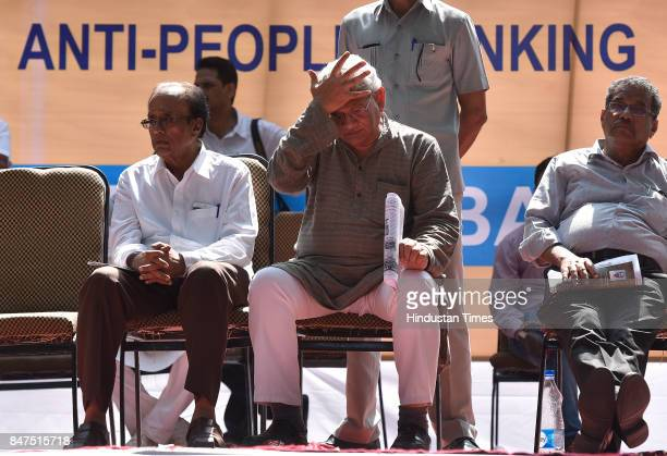 M leader Sitaram Yechury during a protest rally against antipeople banking reform at Jantar Mantar on September 15 2017 in New Delhi India