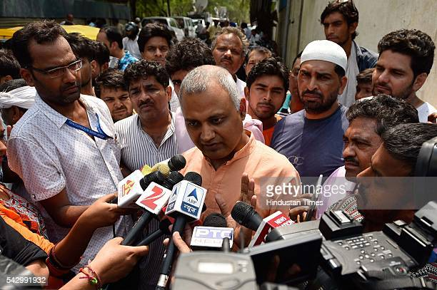 AAP leader Somnath Bharti addressing the media after the police arrested AAP legislator Dinesh Mohaniya for allegedly misbehaving with a woman and...