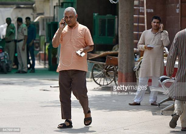 AAP leader Somnath Bharti at Nabsari Police Station after the police arrested AAP legislator Dinesh Mohaniya for allegedly misbehaving with a woman...