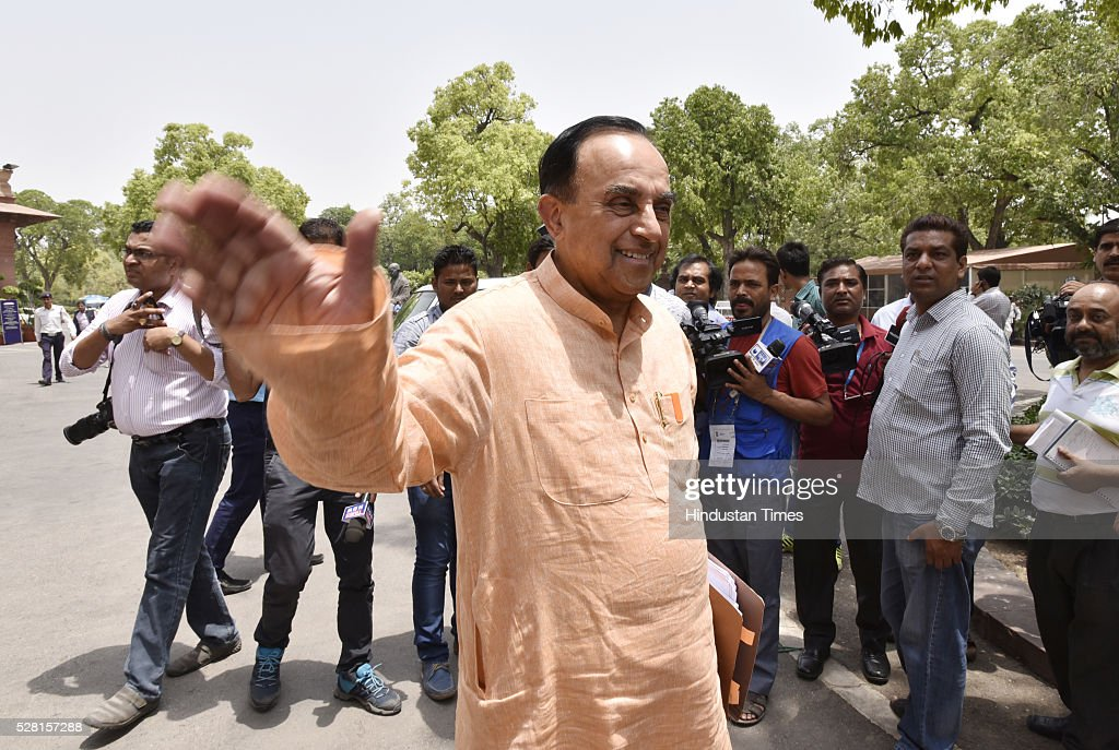 BJP leader Subramanian Swamy at Parliament House during parliament session on May 4, 2016 in New Delhi, India. Congress walks out of the House demanding time-bound Supreme Court-monitored CBI probe on the AgustaWestland helicopter deal.