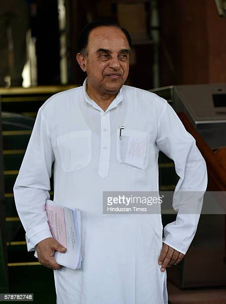 BJP leader Subramanian Swamy seen during the Monsoon Session of Parliament on July 22 2016 in New Delhi India