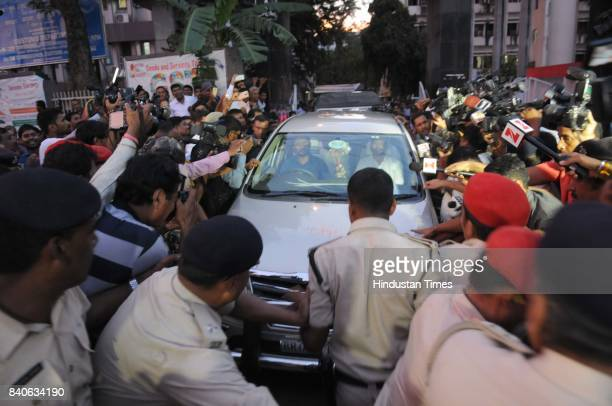 RJD leader Tejashwi Yadav coming out of the Income Tax office after the interrogation on August 292017 in Patna India