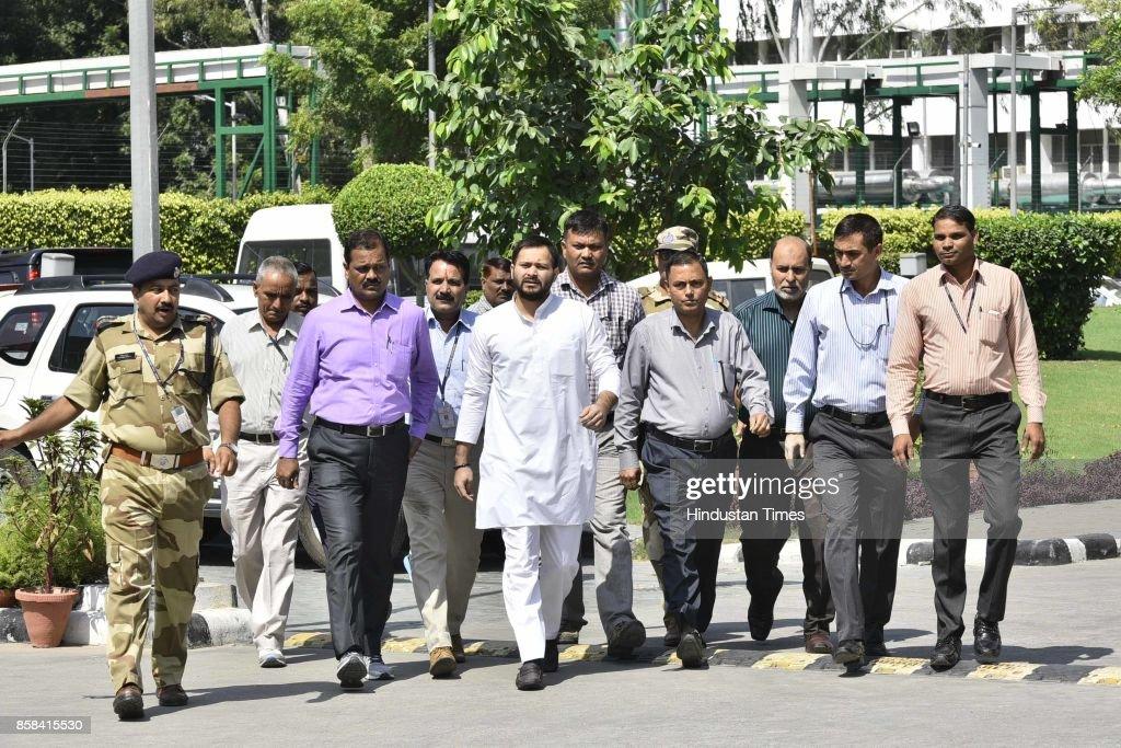 RJD leader Tejaswi Yadav at CBI headquarters on October 6, 2017 in New Delhi, India.