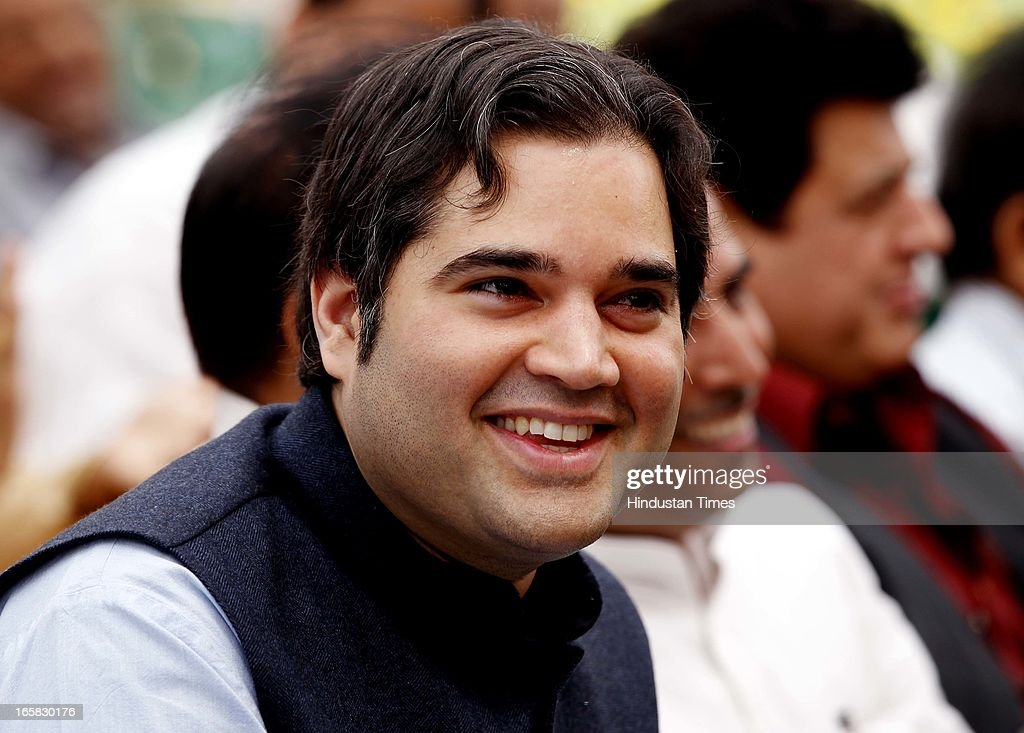 BJP leader Varun Gandhi at BJP Headquarter during a function on the occasion of 33rd foundation day of BJP April 6, 2013 in New Delhi, India. In 1980, the leaders and workers of the former Bharatiya Jana Sangh, founded the Bharatiya Janata Party with Vajpayee as its first president.
