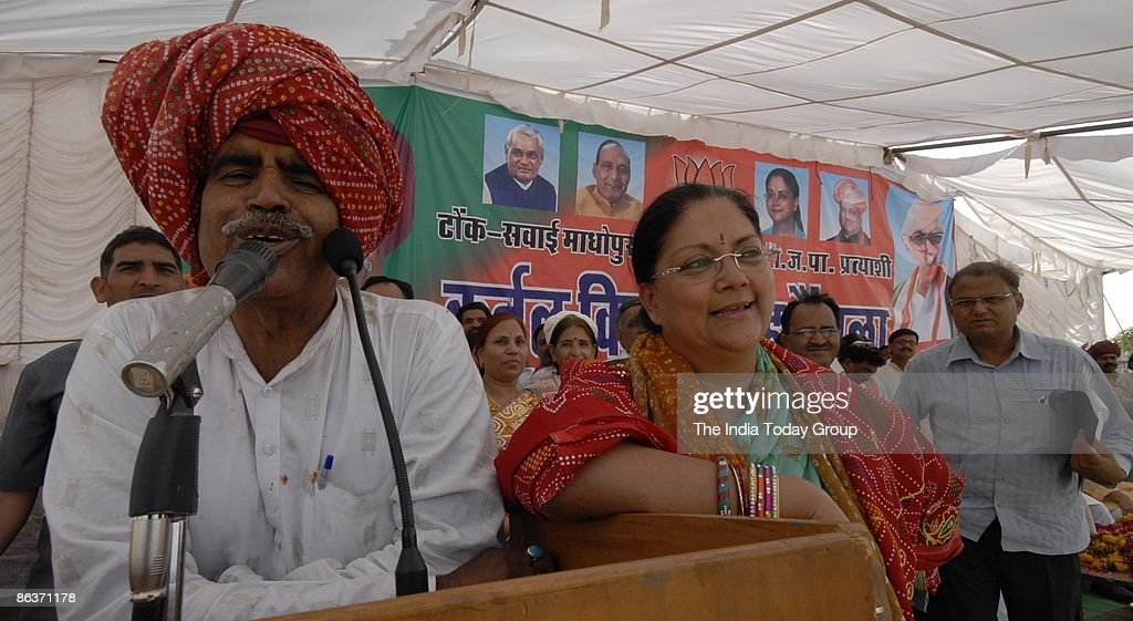 BJP leader Vasundhara Raje addresses her supporters in an election campaign rally on April 29 2009 in Tonk India India is the world's largest...