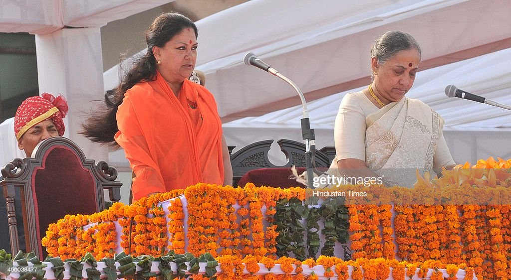 BJP leader Vasundhara Raje being sworn in as Chief Minister of Rajasthan by Rajasthan Governor Margarate Alva at State Assembly on December 13 2013...