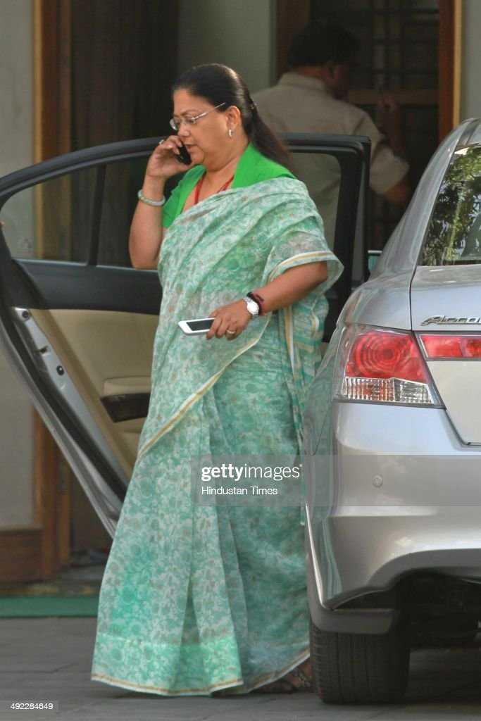 BJP leader Vasundhara Raje Scindia after meeting with Mr Rajnath Singh came here to congratulates him for BJPled National Democratic Alliance's...