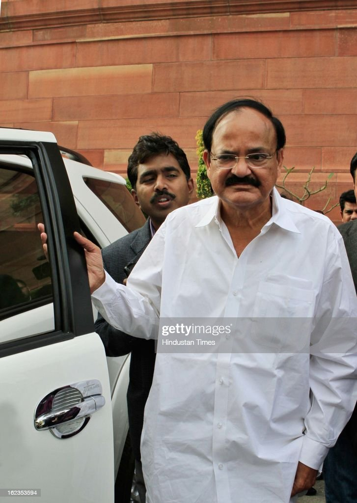 BJP leader Venkaiah Naidu at Parliament during the budget session, on February 22, 2013 in New Delhi, India. The Hyderabad twin blasts issue rocked parliament as the opposition parties attacked the government after Home Minister Shinde said there were prior intelligence reports about the blasts.