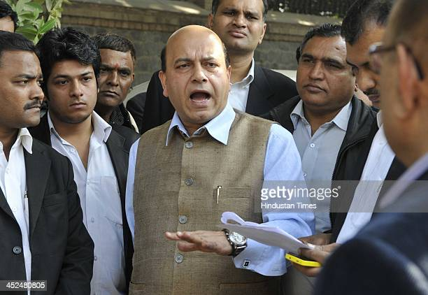 BJP leader Vijay Jolly along with the lawyers and supporters going to meet the SHO as FIR has been lodged against Vijay Jolly for defacing the house...