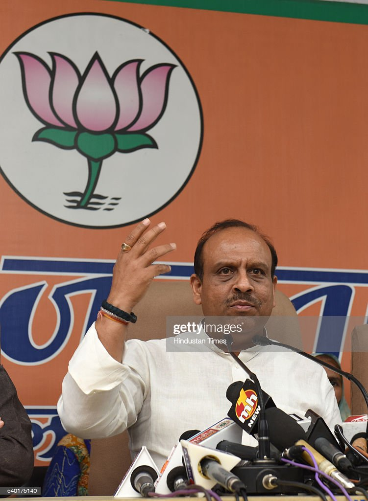 BJP leader Vijender Gupta along with others addressing the media persons demanded disqualification of 21 AAP MLAs appointed as Parliamentary...