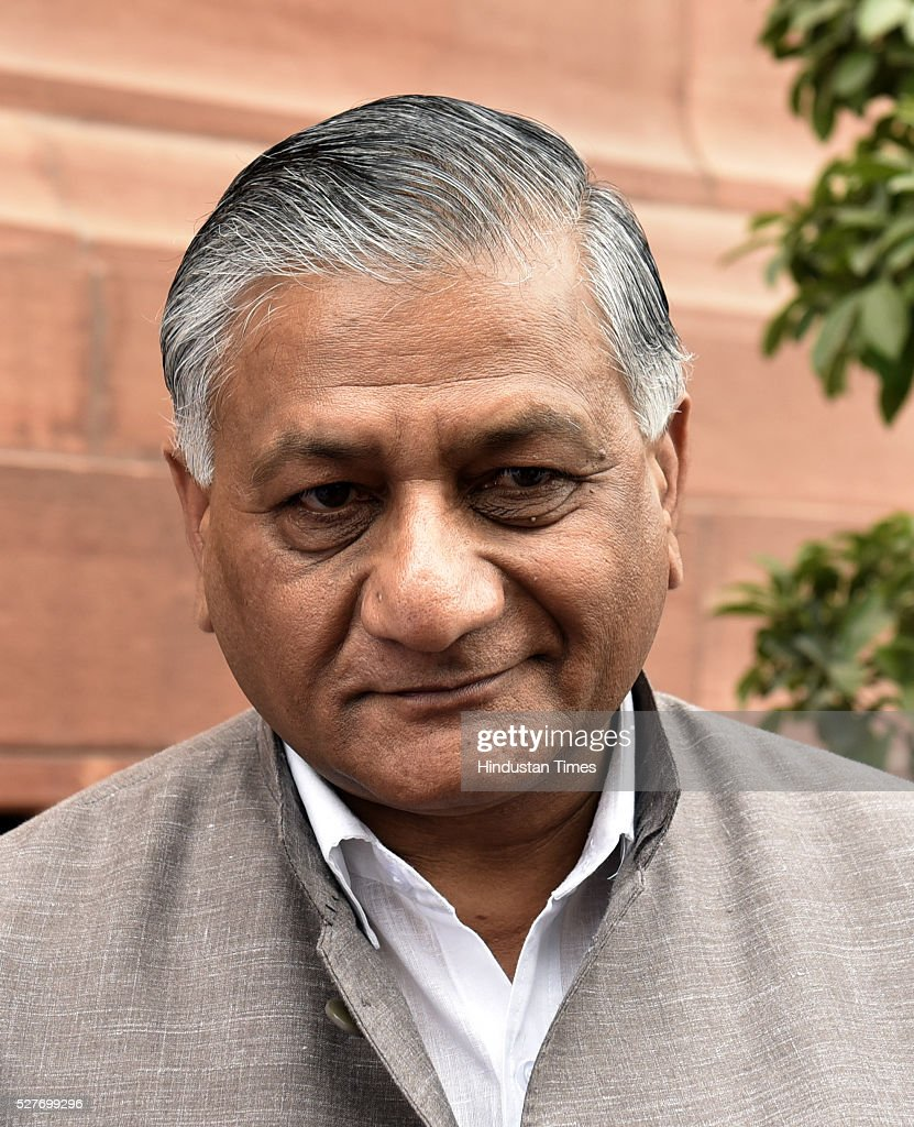 The BJP leader VK Singh outside parliament during the parliament session on May 3, 2016 in New Delhi, India. With the BJP mounting an offensive against Congress vice-president on the AgustaWestland VVIP chopper bribery case, Rahul Gandhi on Wednesday said he is happy to be targeted.