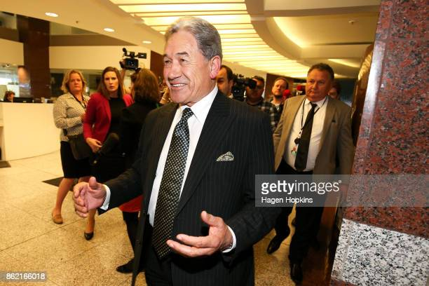 Leader Winston Peters and MP Shane Jones leave after speaking to media during a NZ First caucus and board meeting at Parliament on October 17 2017 in...