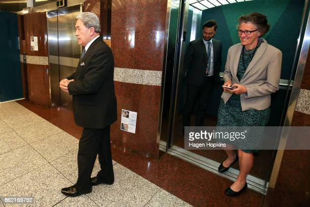 Leader Winston Peters arrives with press secretary Judith Hughey before talking to media during a NZ First caucus and board meeting at Parliament on...
