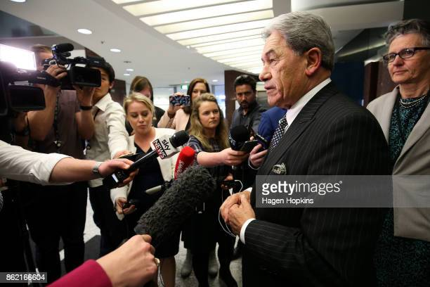 Leader Winston Peters speaks to media during a NZ First caucus and board meeting at Parliament on October 17 2017 in Wellington New Zealand Neither...