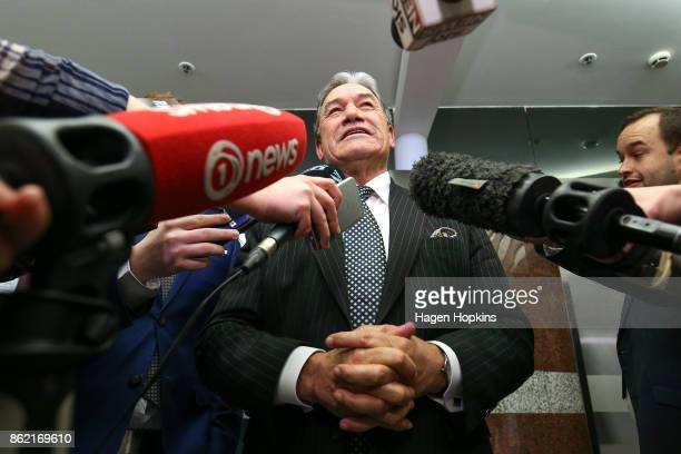 Leader Winston Peters talks to media during a NZ First caucus and board meeting at Parliament on October 17 2017 in Wellington New Zealand Neither...