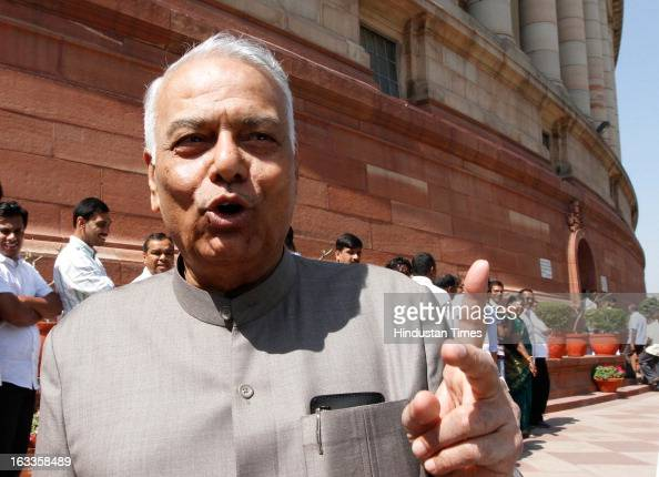 Leader Yashwant Sinha at Parliament house on March 8 2013 in New Delhi India