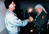 PLO Leader Yasser Arafat meets with Libyan leader Muammar alQaddafi in Tripoli
