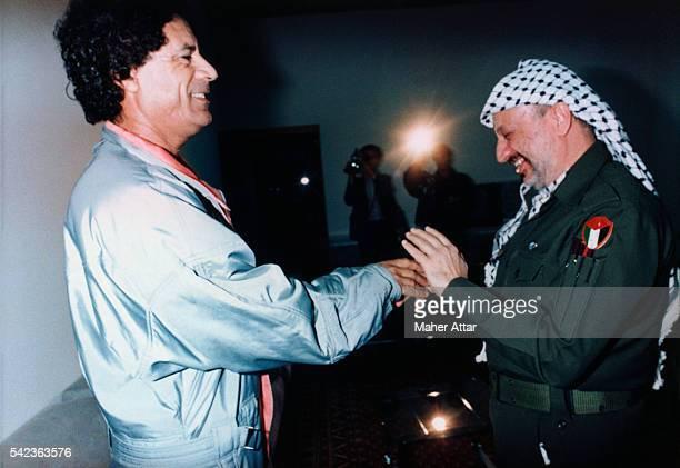 PLO Leader Yasser Arafat meets with Libyan leader Muammar alQaddafi in Tripoli