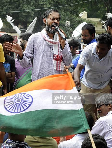 AAP leader Yogendra Yadav addressing UPSC aspirants during their protest demanding scrapping of CSAT at Jantar Mantar on August 5 2014 in New Delhi...