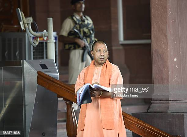 BJP leader Yogi Adityanath at Parliament House on August 3 2016 in New Delhi India The Rajya Sabha passed the Goods and Services Tax Constitutional...
