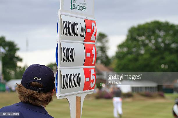 A leaderboard during the first round of The Senior Open Championship played at Sunningdale Golf Club on July 23 2015 in Sunningdale United Kingdom