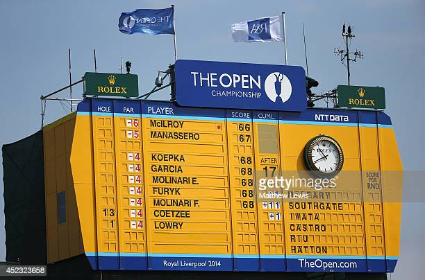 A leaderboard is seen near the 18th hole during the second round of The 143rd Open Championship at Royal Liverpool on July 18 2014 in Hoylake England