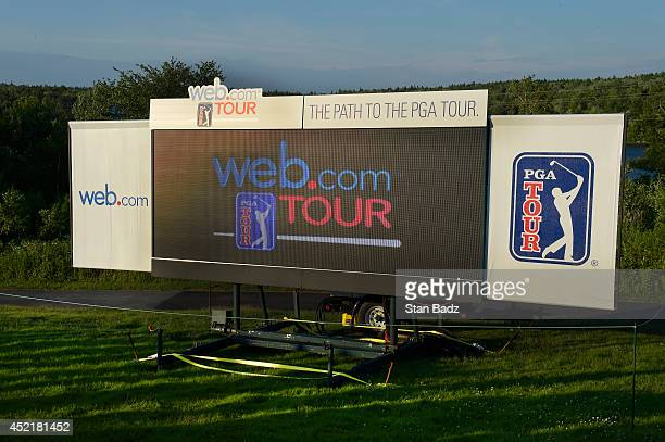 A leaderboard is seen on the 18th hole during the final round of the Webcom Tour Nova Scotia Open at Ashburn Golf Club on July 6 2014 in Windsor...