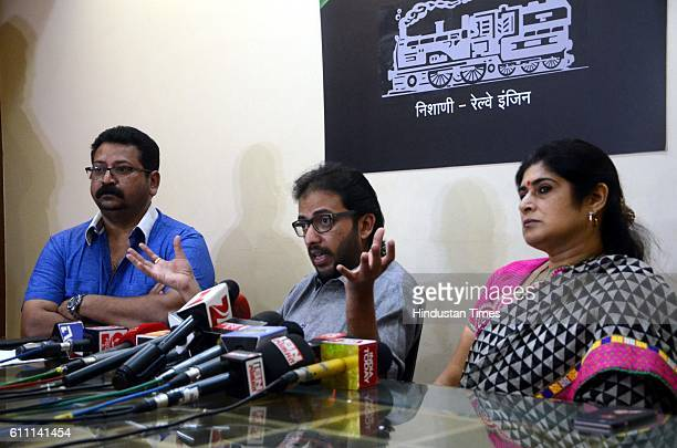 leaders Amey Khopkar President Shalini Thackeray and Shashank Nagvekar address during a press conference after issuing a 48hour ultimatum to the...