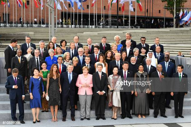 G20 leaders and their spouses arrive to attend a concert at the Elbphilharmonie philharmonic concert hall on the first day of the G20 economic summit...