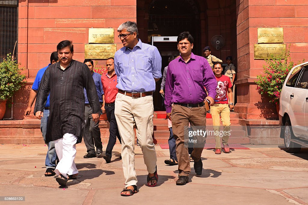 AAP leaders Ashutosh, Sanjay Singh and others after meeting at Home Ministry on October 20, 2015 in New Delhi, India.