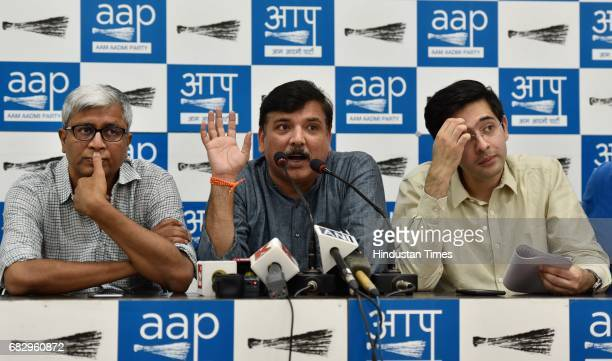 AAP leaders Ashutosh Sanjay Singh and Raghav Chadha during a press conference at AAP Office on May 14 2017 in New Delhi India Sanjay Singh slammed...