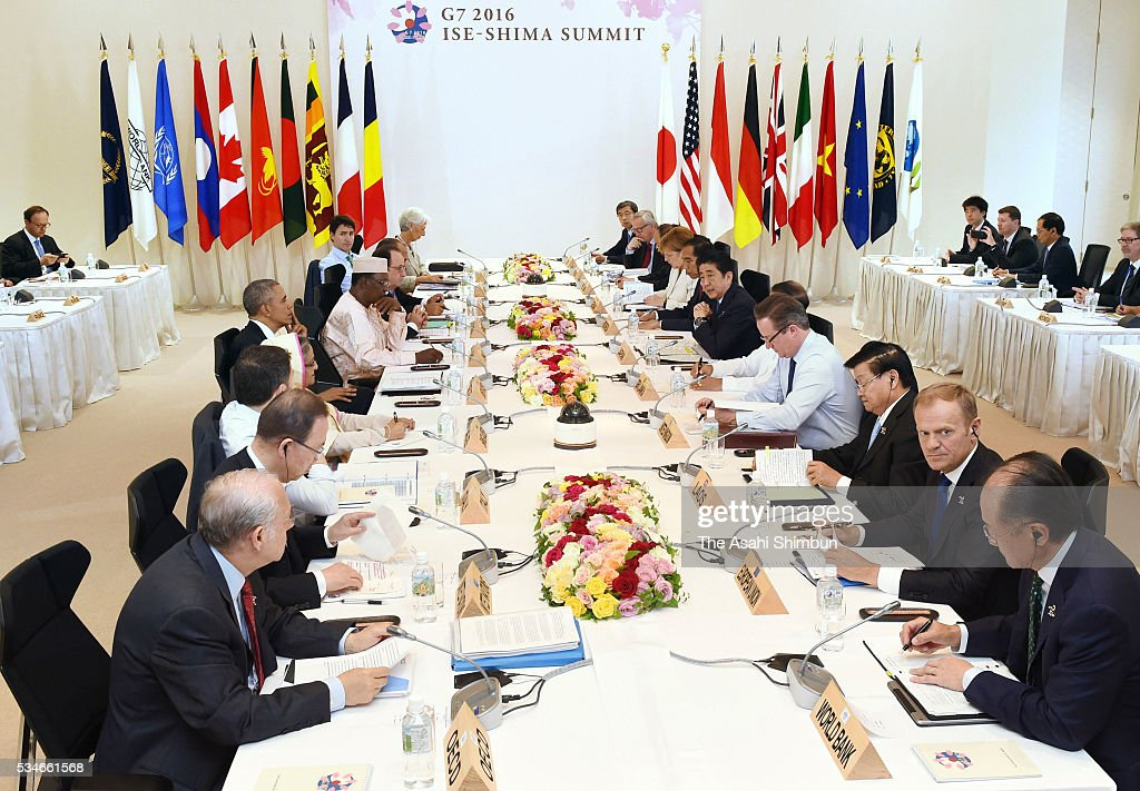 Leaders attend the outreach meeting during the Group of Seven summit on May 27, 2016 in Shima, Mie, Japan. The 2-day Group of Seven summit concludes after discussing key global issues such as global economy and counter terrorism measures.