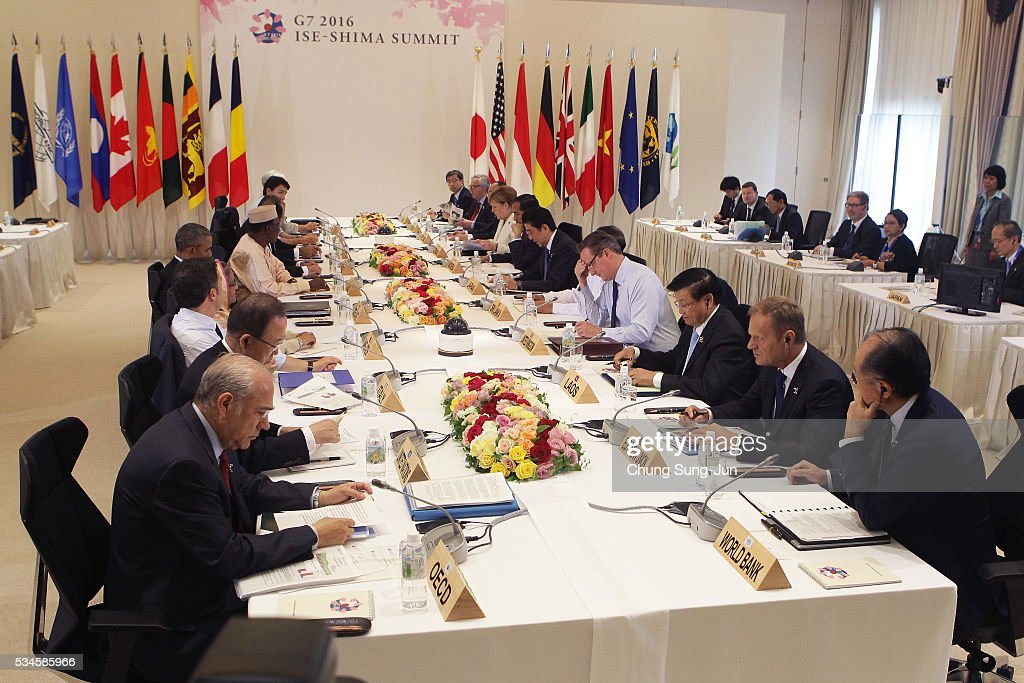Leaders attend the the first Outreach Session on May 27, 2016 in Kashikojima, Japan. In the two-day summit, the G7 leaders are scheduled to discuss the pressing global issues including counter-terrorism, energy policy, and sustainable development.