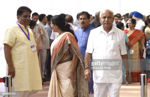 BJP leaders Bhupender Yadav with BS Yeddyurappa and his wife after casting their votes for Vice Presidential Election at Parliament House on August 5...