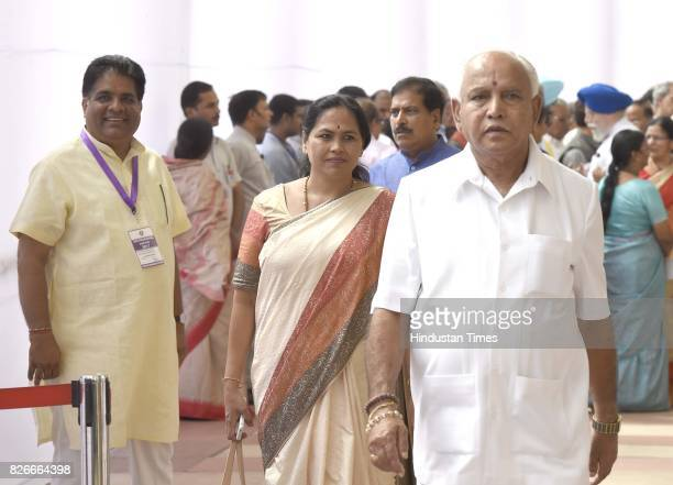 BJP leaders Bhupender Yadav with BS Yeddyurappa former Chief Minister of Karnataka and his wife after casting their votes for Vice Presidential...