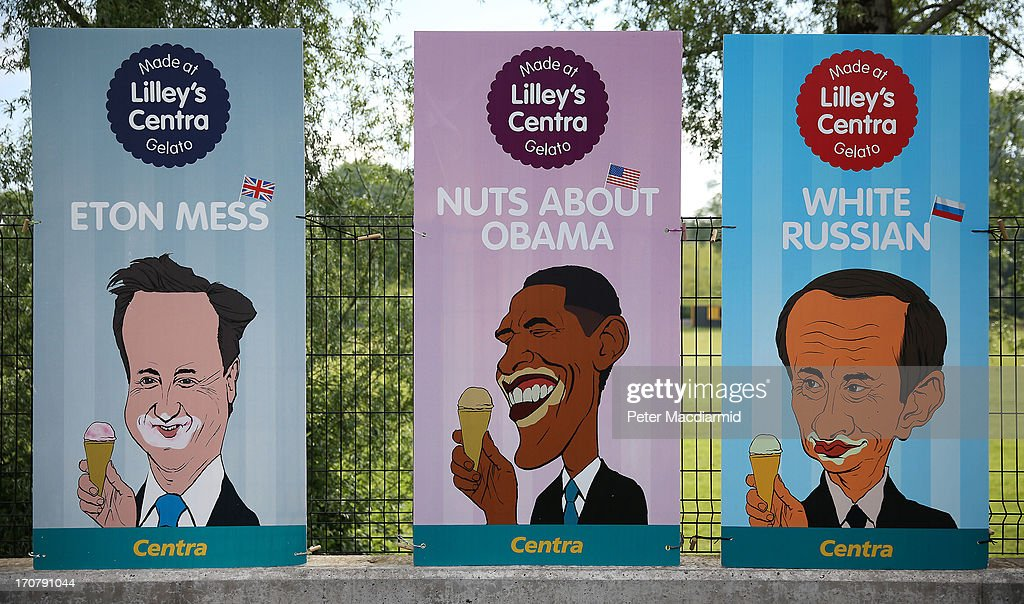 G8 leaders (L-R) Britain's Prime Minister David Cameron, US President Barack Obama and Russian President Putin flavoured ice creams are advertised at a petrol station near to the G8 summit on June 18, 2013 in Enniskillen, Northern Ireland. The G8 summit, hosted by UK Prime Minister David Cameron, is expected to discuss tax avoidance issues on its final day.
