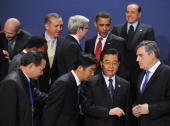 G20 leaders Chinese President Hu Jintao Britain's Prime Minister Gordon Brown World Trade Organisation Director General Pascal Lamy Turkish President...