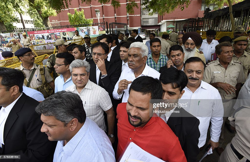 AAP leaders coming out after meeting with Election Commissioner at Election Commission office on July 21 2016 in New Delhi India The Election...